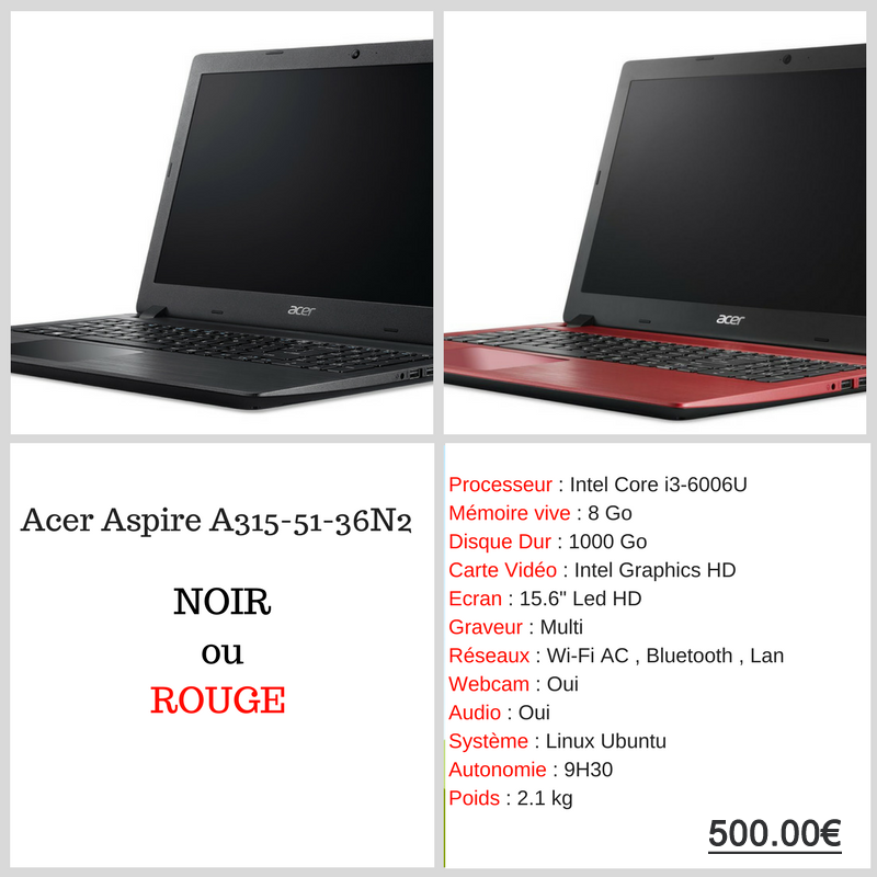 POP2 - Acer Aspire A 315-51-36N2 RDP Informatique