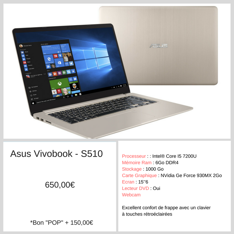 Ordinateur POP - ASUS Vivobook - RDP Informatique